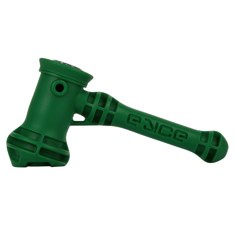 Solid dark green hammer-styled pipe
