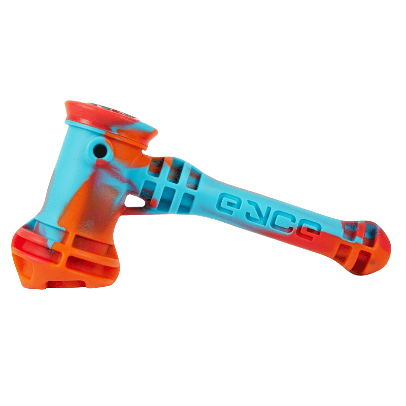 Light blue, red, and neon orange colored hammer pipe