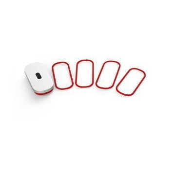 Red oval rubber rings and white cap