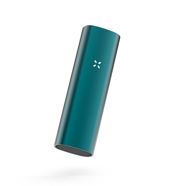 Front side of tilted teal vape