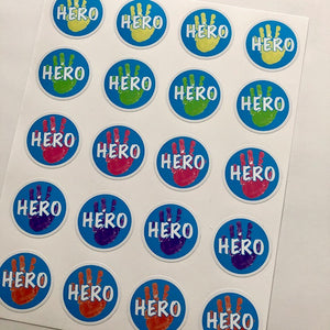 Back to school: 'Hero' Stickers (Sheet of 20)