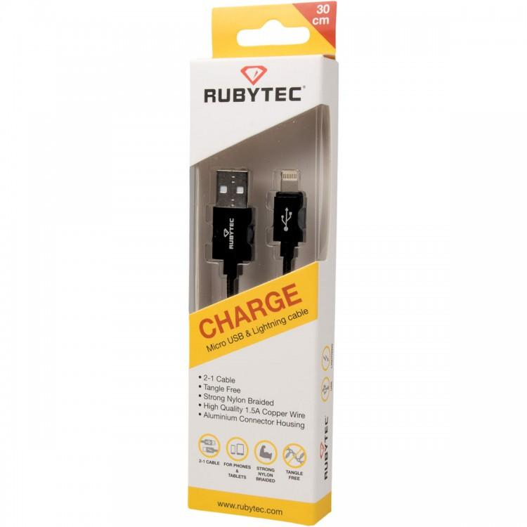 Rubytec Charge 2 in one cable Iphone en samsun - Dekker SportDekker Sport Den Haag Sportwinkel