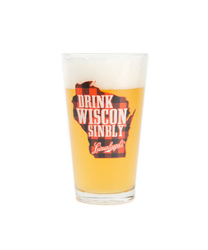 DRINK WISCONSINBLY PLAID PINT