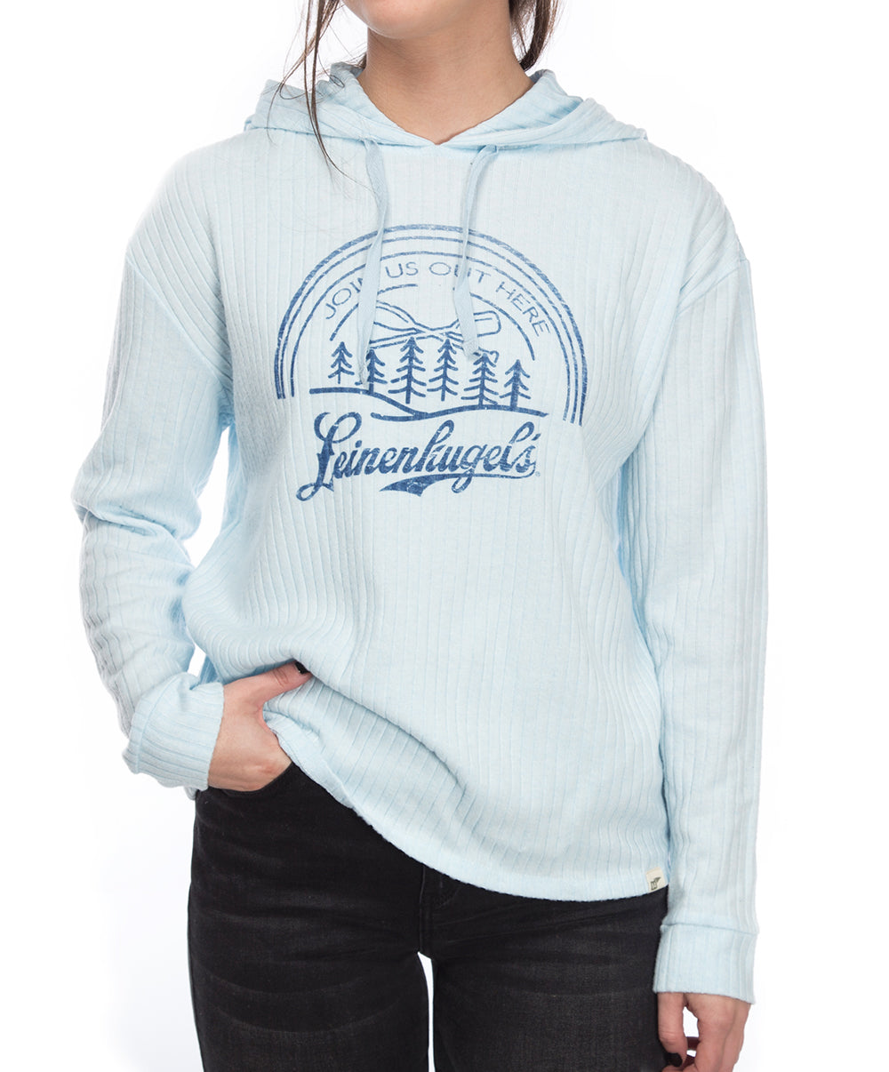 LADIES POWDER RIBBED HOODIE LS