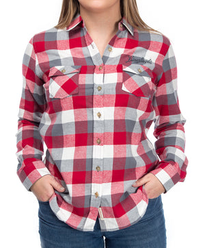 LADIES PLAID FLANNEL BUTTON UP