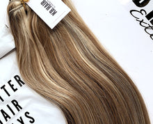 Load image into Gallery viewer, Light Brown/Bleach Blonde Highlights #8/613 Deluxe Clip-in hair extensions