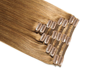 Light Brown #8 Deluxe Clip-in hair extensions