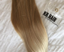 Load image into Gallery viewer, Ash Brown/Platinum Blonde Ombre Clip-in hair extensions