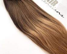 Load image into Gallery viewer, Medium Brown to light blonde Ombre Clip-in hair extensions