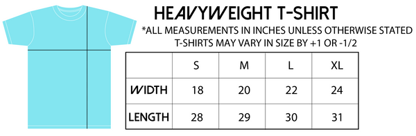 Heavyweight t-shirt size guide.
