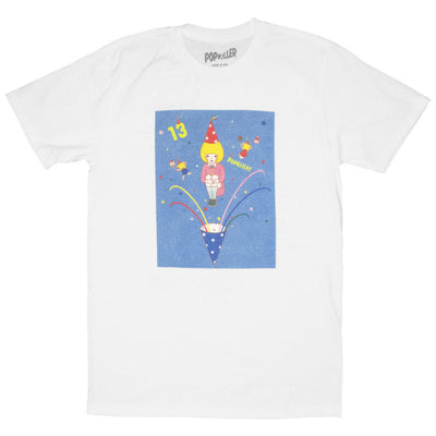 White graphic tee with kawaii party characters by Los Angeles artist Naoshi.