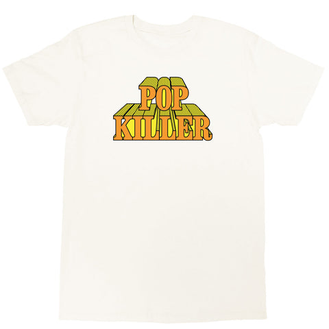 Cream graphic t-shirt with a cartoon logo by Los Angeles brand Popkiller.
