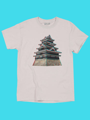 Unisex graphic t-shirt with a 3D Japanese castle by LA brand Popkiller.