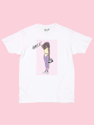 Unisex retro anime girl graphic t-shirt.