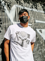 Grey cyberpunk anime graphic tee by Japanese artist Acky Bright.