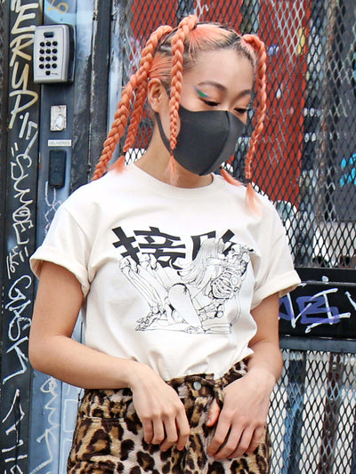 Cyberpunk skeleton graphic tee by Japanese artist Acky Bright.