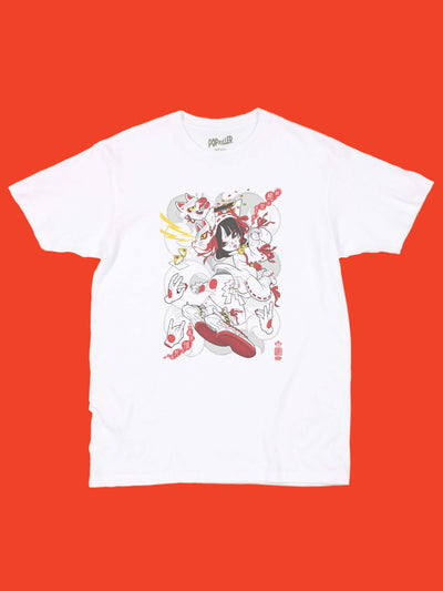 Sexy kitsune anime girl graphic t-shirt by anime artist Grape Brain.