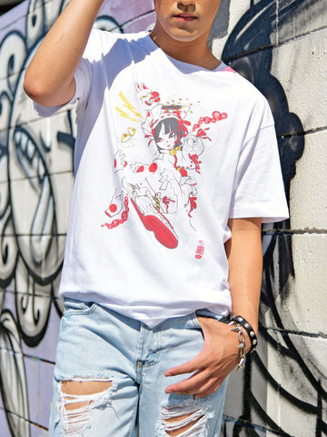 Kawaii kitsune anime girl graphic tee by Japanese artist Grape Brain.
