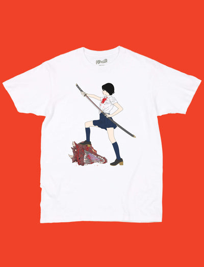White graphic tee with a samurai school girl by anime artist Sagaken.