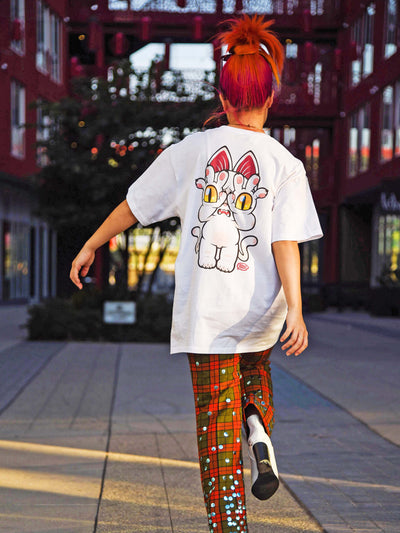 Anime cat graphic tee by Japanese artist Grape Brain.