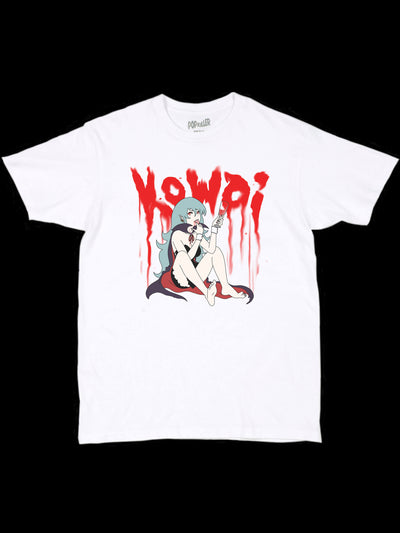 White graphic tee with a kowai vampire girl by anime artist Sagaken.