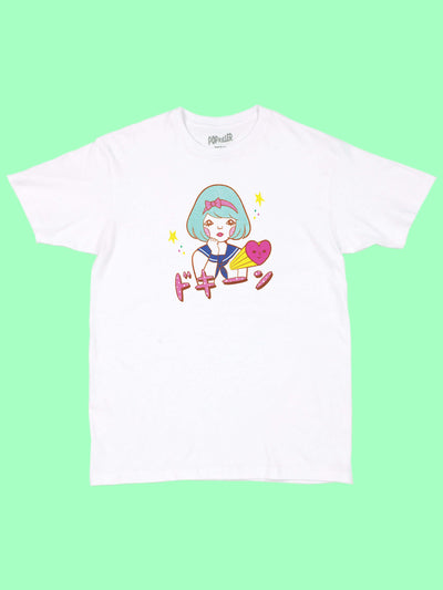 White graphic tee with kawaii Japanese school girl by Los Angeles artist Naoshi.