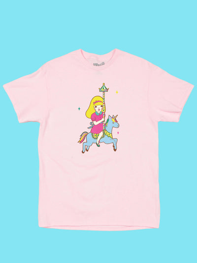 Pink graphic tee with fairy kei art by kawaii artist Naoshi.
