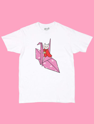 White graphic t-shirt with kawaii origami cat by Los Angeles artist Naoshi.