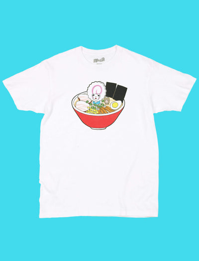 White graphic tee with kawaii Naruto ramen by Los Angeles artist Naoshi.