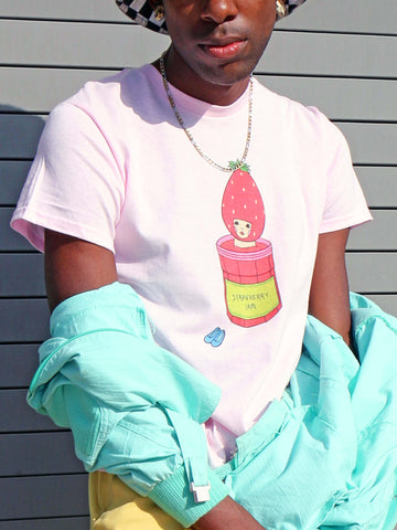 Pink graphic tee with kawaii strawberry by Los Angeles artist Naoshi.