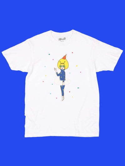 White graphic tee with kawaii anime alien by LA artist Naoshi.