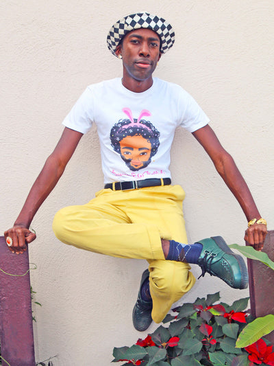 White graphic tee with kawaii rapper Childish Gambino by Los Angeles artist Sparklebombb.