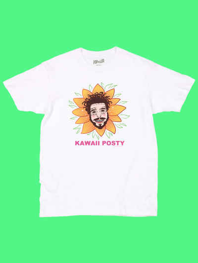 White graphic tee with kawaii rapper Post Malone by Los Angeles artist Sparklebombb.
