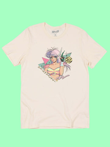 Cream graphic T-shirt with retro anime girl by 80s artist Mizucat.