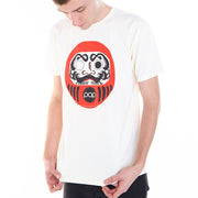 Cream graphic tee with a Japanese Daruma design by Los Angeles brand Popkiller.