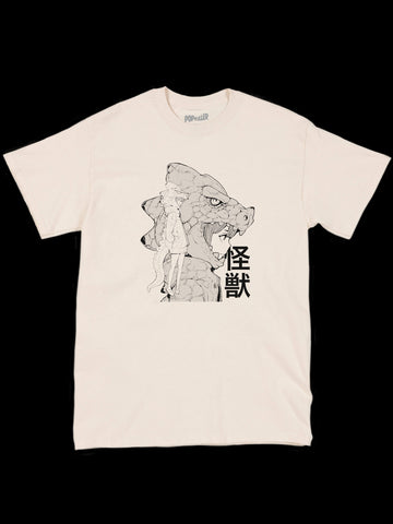 Beige Godzilla girl graphic t-shirt by Japanese artist Acky Bright.