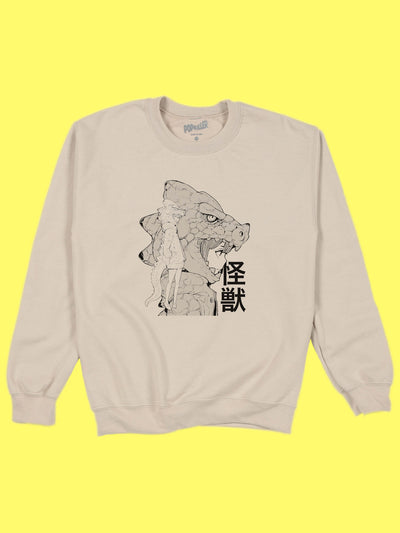 Beige kaiju anime girl sweatshirt by Japanese artist Acky Bright.
