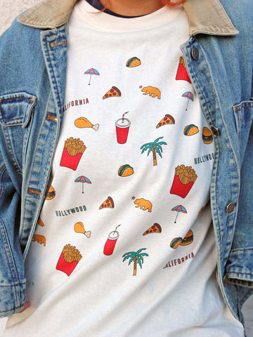 White junk food graphic tee by Los Angeles brand Popkiller.