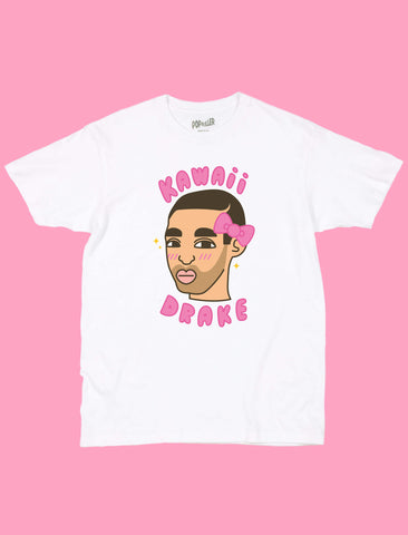 White graphic t-shirt with rapper Drake by LA artist Sparklebombb.