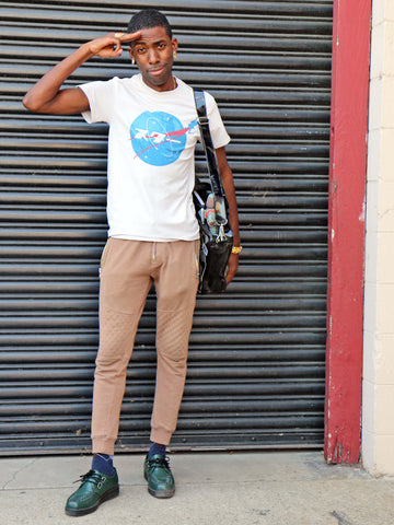 Grey Japanese Nasa logo graphic tee by Los Angeles brand Popkiller.