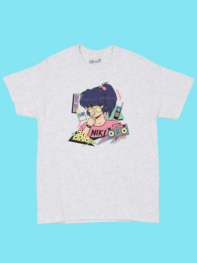 Grey graphic tee with vaporwave anime girl by aesthetic artist Mizucat.