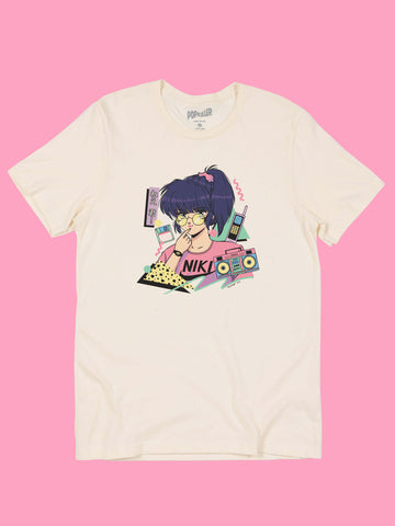 Cream graphic T-shirt with vaporwave anime girl by artist Mizucat.
