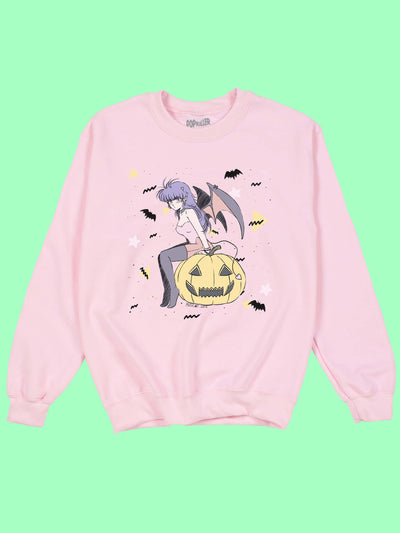 Pastel pink kawaii Halloween sweater.