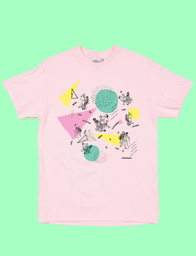 Pink Japanese Memphis style graphic tee by Los Angeles brand Popkiller.