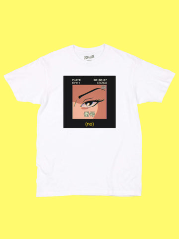 Anime girl NO graphic tee by aesthetic artist Warakami Vaporwave.