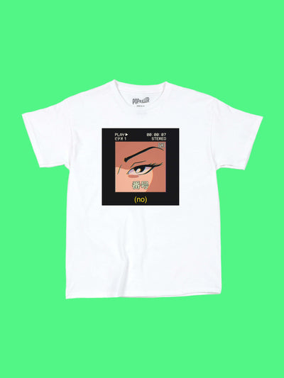 Anime girl NO women's tee by aesthetic artist Warakami Vaporwave.