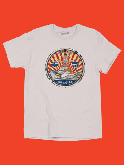Retro sushi graphic tee by Japanese artist Anraku.