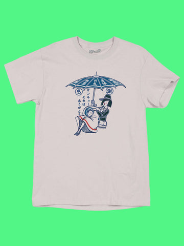 Baby stork graphic tee by Japanese artist Anraku.
