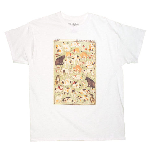 Ukiyoe t shirt cats playing ladies top