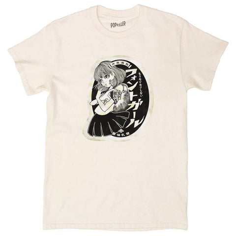 Anime school girl graphic t-shirt by Japanese artist Anraku.